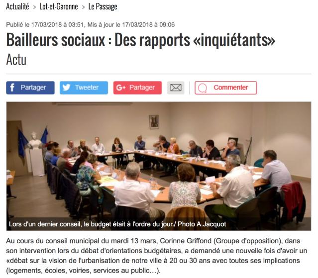 Bailleurs sociaux- Petit bleu -Des rapports inquiétants-Passage d'Agen